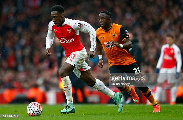 Danny Welbeck of Arsenal and Adama Diomande of Hull City compete for the ball during the Emirates FA Cup fifth round match between Arsenal and Hull...