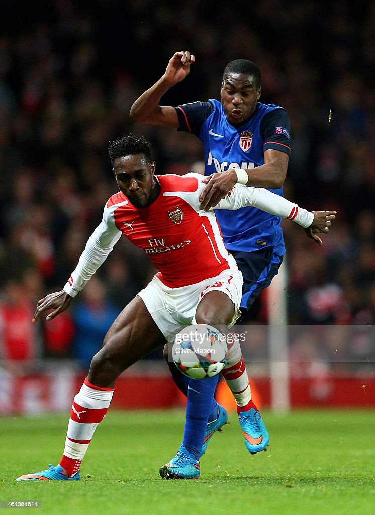 Danny Welbeck of Arsenal and Geoffrey Kondogbia of Monaco battle for the ball during the UEFA Champions League round of 16, first leg match between Arsenal and Monaco at The Emirates Stadium on February 25, 2015 in London, United Kingdom.