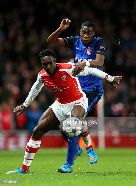 Danny Welbeck of Arsenal and Geoffrey Kondogbia of Monaco battle for the ball during the UEFA Champions League round of 16 first leg match between...