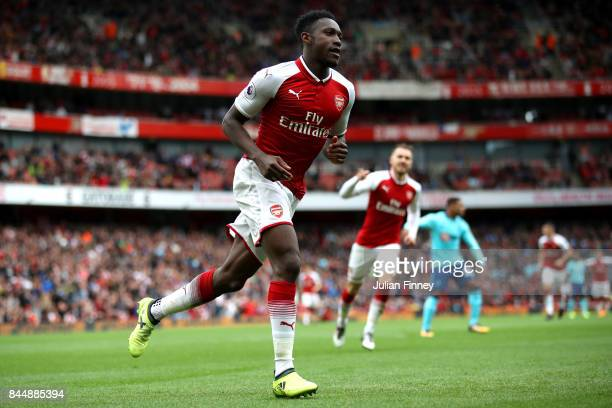 Danny Welbeck of Arsenal celebrates scoring his sides third goal during the Premier League match between Arsenal and AFC Bournemouth at Emirates...