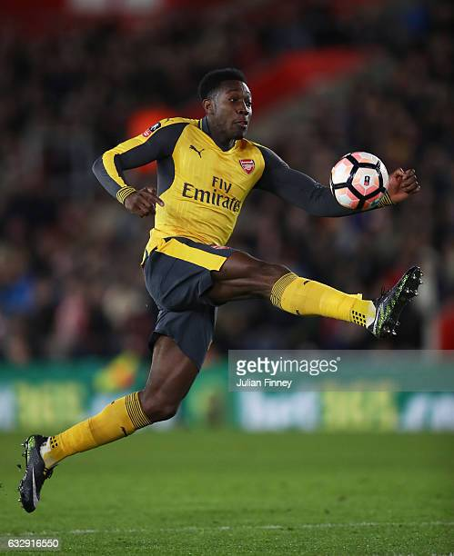 Danny Welbeck of Arsenal controlls the ball during the Emirates FA Cup Fourth Round match between Southampton and Arsenal at St Mary's Stadium on...