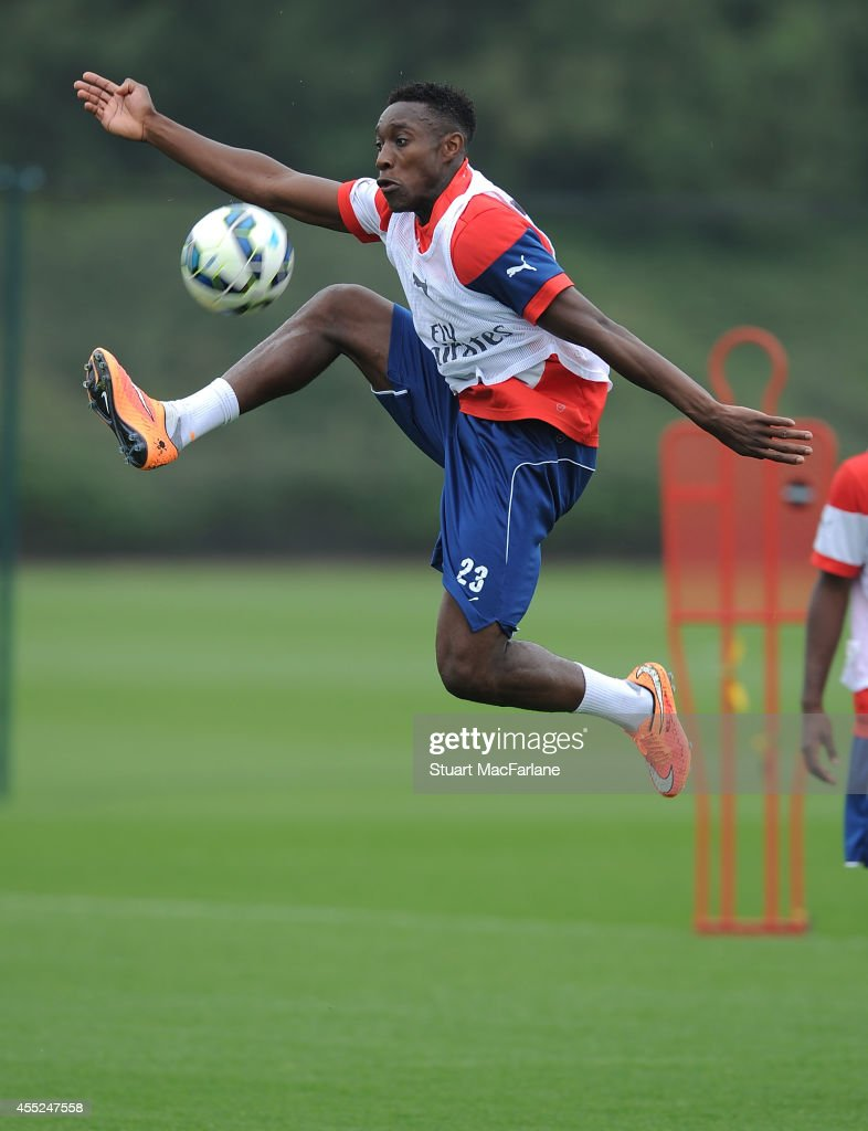 Danny Welbeck of Arsenal during a training session at London Colney on September 11 2014 in St Albans England