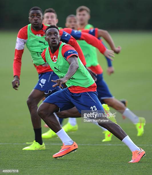 Danny Welbeck of Arsenal during a training session at London Colney on September 12 2014 in St Albans England