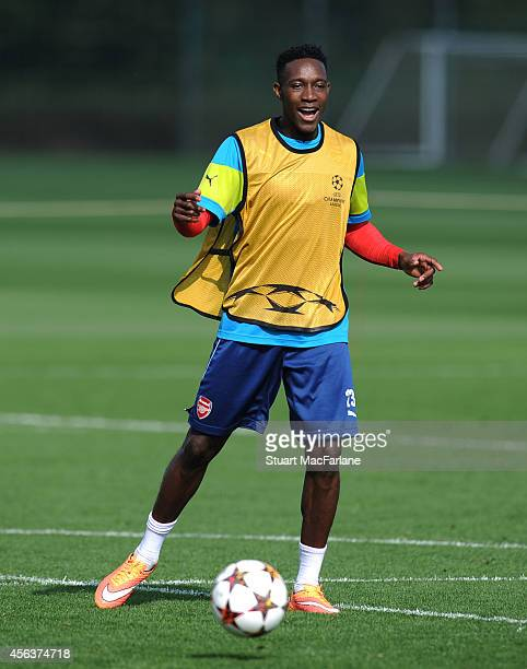 Danny Welbeck of Arsenal during a training session at London Colney on September 30 2014 in St Albans England