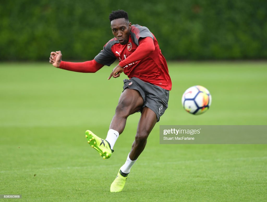 Danny Welbeck of Arsenal during a training session at London Colney on August 24, 2017 in St Albans, England.