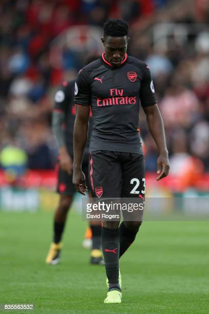 Danny Welbeck of Arsenal is dejected after the Premier League match between Stoke City and Arsenal at Bet365 Stadium on August 19 2017 in Stoke on...