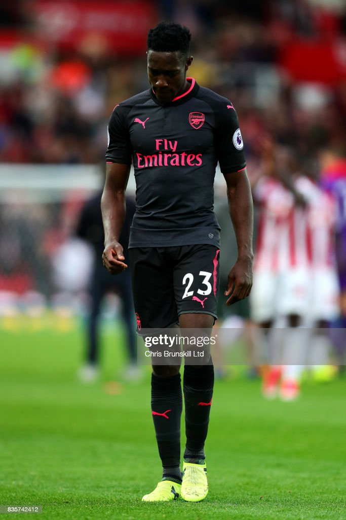 Danny Welbeck of Arsenal looks dejected following the Premier League match between Stoke City and Arsenal at Bet365 Stadium on August 19, 2017 in Stoke on Trent, England.