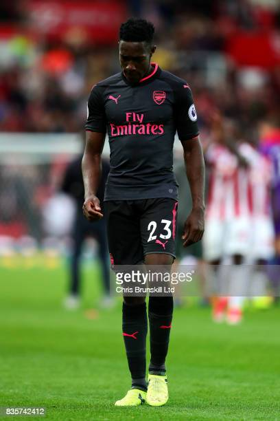 Danny Welbeck of Arsenal looks dejected following the Premier League match between Stoke City and Arsenal at Bet365 Stadium on August 19 2017 in...
