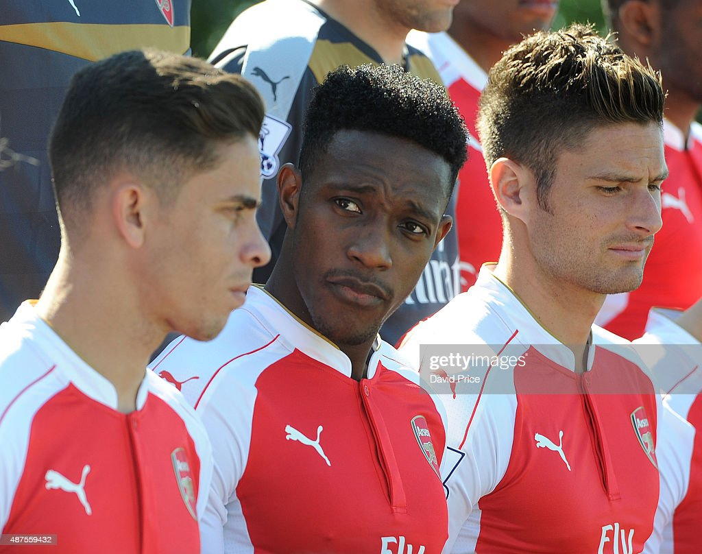 Danny Welbeck of Arsenal looks on during the Arsenal 1st Team Group Photograph at London Colney on September 10, 2015 in St Albans, England.