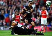 Danny Welbeck of Arsenal scores his team's second goal during the Barclays Premier League match between Arsenal and Hull City at Emirates Stadium on...