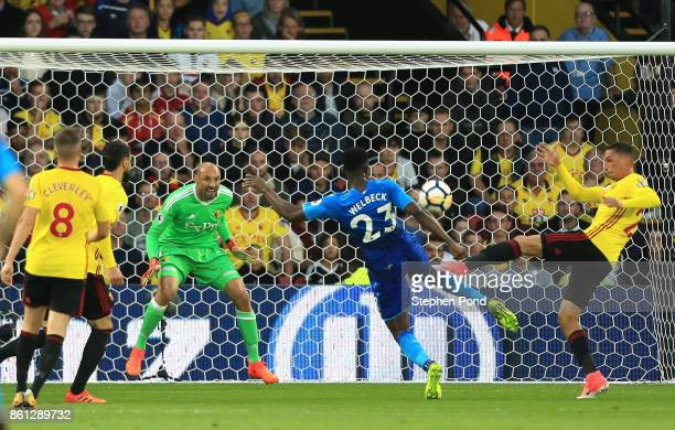 Danny Welbeck of Arsenal sees is shot blocked during the Premier League match between Watford and Arsenal at Vicarage Road on October 14 2017 in...