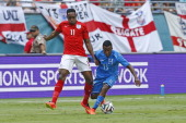Danny Welbeck of England and Marvin Chavez of Honduras battle for control of the ball on June 7 2014 during an International friendly match at...
