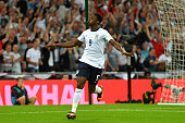 Danny Welbeck of England celebrates after scoring a goal during the International Friendly match between England and Scotland at Wembley Stadium on...