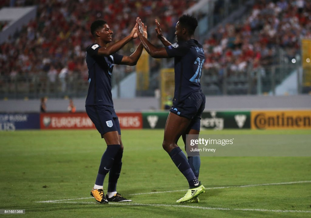Danny Welbeck of England celebrates as he scores their third goal with Marcus Rashford of England (22) during the FIFA 2018 World Cup Qualifier between Malta and England at Ta'Qali National Stadium on September 1, 2017 in Valletta, Malta.