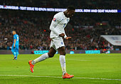 Danny Welbeck of England celebrates scoring England's third goal during the EURO 2016 Qualifier Group E match between England and Slovenia at Wembley...