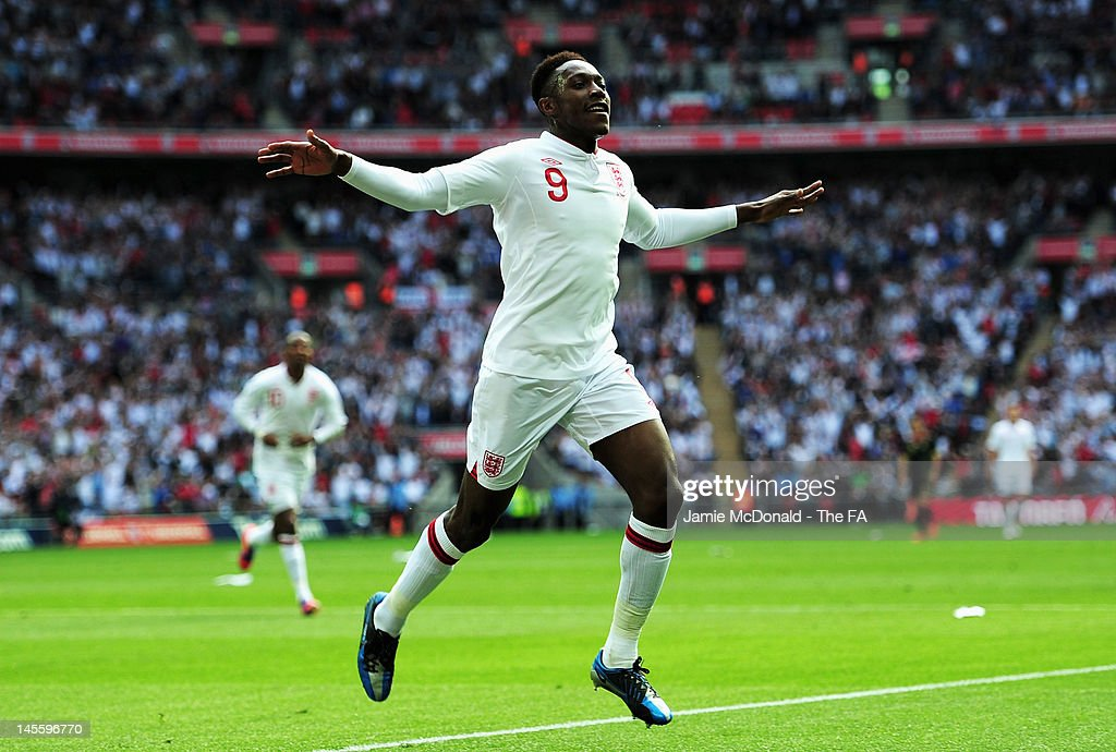 <a gi-track='captionPersonalityLinkClicked' href=/galleries/search?phrase=Danny+Welbeck&family=editorial&specificpeople=4223930 ng-click='$event.stopPropagation()'>Danny Welbeck</a> of England celebrates scoring the opening goal during the International Friendly match between England and Belgium at Wembley Stadium on June 2, 2012 in London, England.