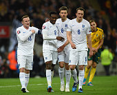 Danny Welbeck of England celebrates scoring the second goal with Wayne Rooney Michael Carrick and Phil Jones of England during the EURO 2016...