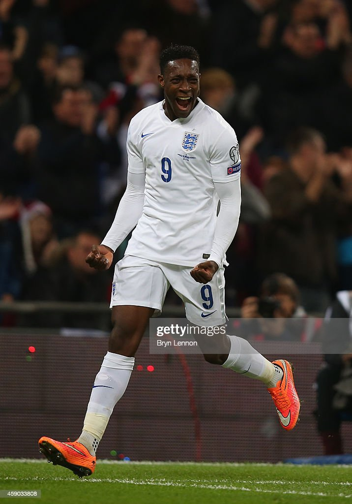 <a gi-track='captionPersonalityLinkClicked' href=/galleries/search?phrase=Danny+Welbeck&family=editorial&specificpeople=4223930 ng-click='$event.stopPropagation()'>Danny Welbeck</a> of England celebrates scoring the third goal for England during the EURO 2016 Qualifier Group E match between England and Slovenia at Wembley Stadium on November 15, 2014 in London, England.