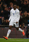 Danny Welbeck of England celebrates scoring the third goal for England during the EURO 2016 Qualifier Group E match between England and Slovenia at...