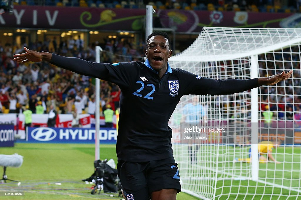 <a gi-track='captionPersonalityLinkClicked' href=/galleries/search?phrase=Danny+Welbeck&family=editorial&specificpeople=4223930 ng-click='$event.stopPropagation()'>Danny Welbeck</a> of England celebrates scoring their third goal during the UEFA EURO 2012 group D match between Sweden and England at The Olympic Stadium on June 15, 2012 in Kiev, Ukraine.