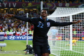 Danny Welbeck of England celebrates scoring their third goal during the UEFA EURO 2012 group D match between Sweden and England at The Olympic...