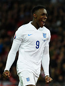 Danny Welbeck of England celebrates scoring their third goal during the EURO 2016 Group E Qualifying match between England and San Marino at Wembley...