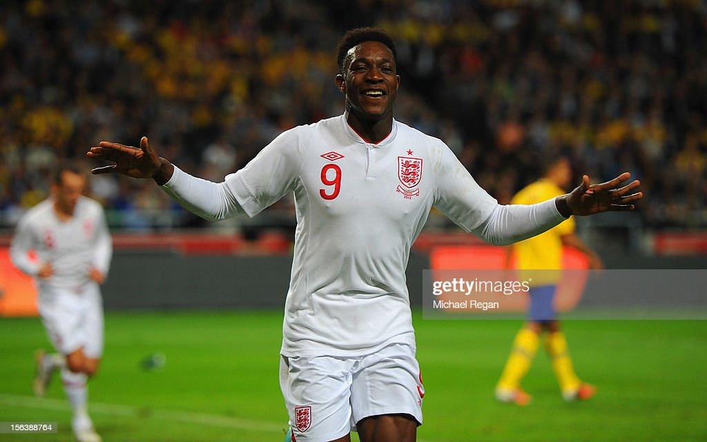 Danny Welbeck of England celebrates scoring to make it 1-1 during the international friendly match between Sweden and England at the Friends Arena on November 14, 2012 in Stockholm, Sweden.