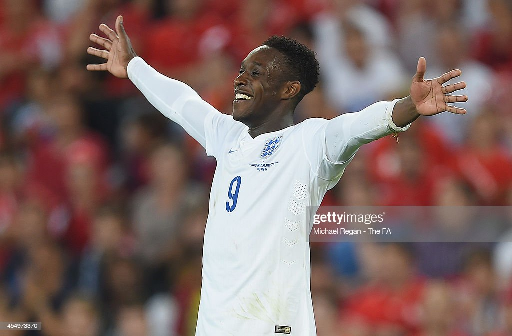 <a gi-track='captionPersonalityLinkClicked' href=/galleries/search?phrase=Danny+Welbeck&family=editorial&specificpeople=4223930 ng-click='$event.stopPropagation()'>Danny Welbeck</a> of England celebrates scoring to make it 2-0 during the UEFA EURO 2016 Qualifier match between Switzerland and England at St. Jakob Park on September 8, 2014 in Basel, Basel-Stadt.