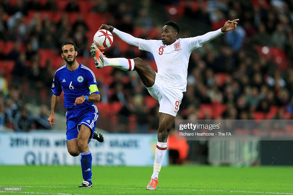 <a gi-track='captionPersonalityLinkClicked' href=/galleries/search?phrase=Danny+Welbeck&family=editorial&specificpeople=4223930 ng-click='$event.stopPropagation()'>Danny Welbeck</a> of England controls the ball during the FIFA 2014 World Cup Group H qualifying match between England and San Marino at Wembley Stadium on October 12, 2012 in London, England.
