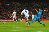 Danny Welbeck of England scores England's third goal during the EURO 2016 Qualifier Group E match between England and Slovenia at Wembley Stadium on...
