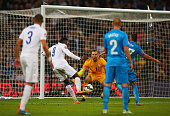 Danny Welbeck of England scores the third goal for England during the EURO 2016 Qualifier Group E match between England and Slovenia at Wembley...