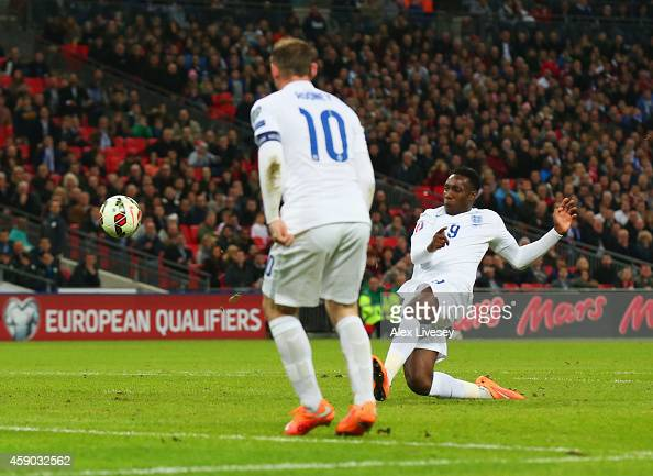 Danny Welbeck of England scores their second goal during the EURO 2016 Qualifier Group E match between England and Slovenia at Wembley Stadium on...