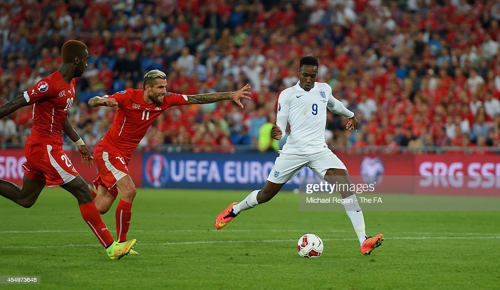 Danny Welbeck of England scores to make it 20 during the UEFA EURO 2016 Qualifier match between Switzerland and England at St Jakob Park on September...