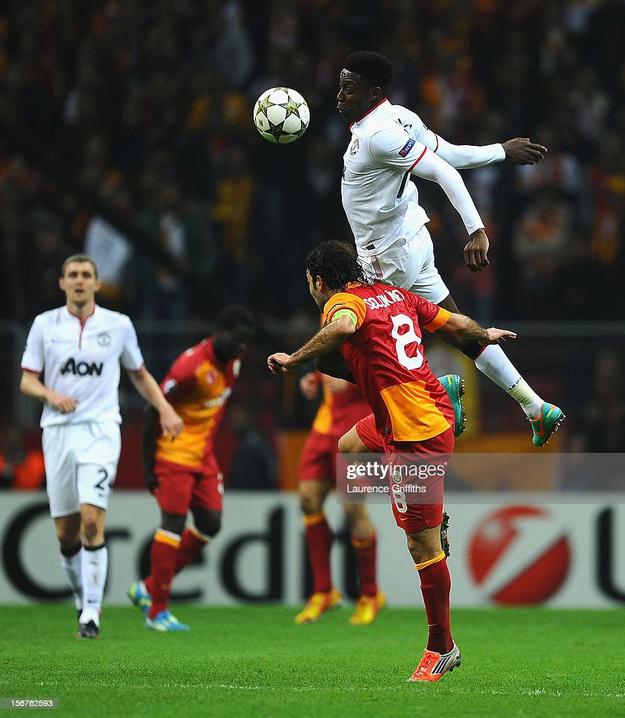 Danny Welbeck of Manchester United battles with Selcuk Inan of Galatasary during the UEFA Champions League Group H match between Galatasaray and Manchester United at the Turk Telekom Arena on November 20, 2012 in Istanbul, Turkey.