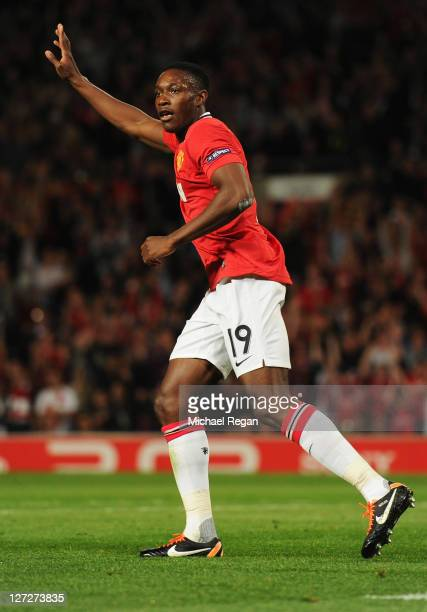 Danny Welbeck of Manchester United celebrates as he scores their second goal during the UEFA Champions League Group C match between Manchester United...