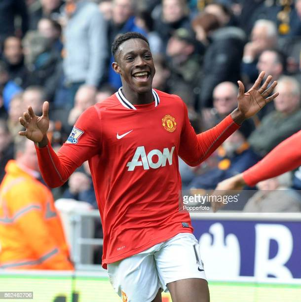 Danny Welbeck of Manchester United celebrates during the Barclays Premier League match between Wolverhampton Wanderers and Manchester United at...