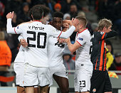 Danny Welbeck of Manchester United celebrates scoring their first goal during the UEFA Champions League Group A match between Shakhtar Donetsk and...