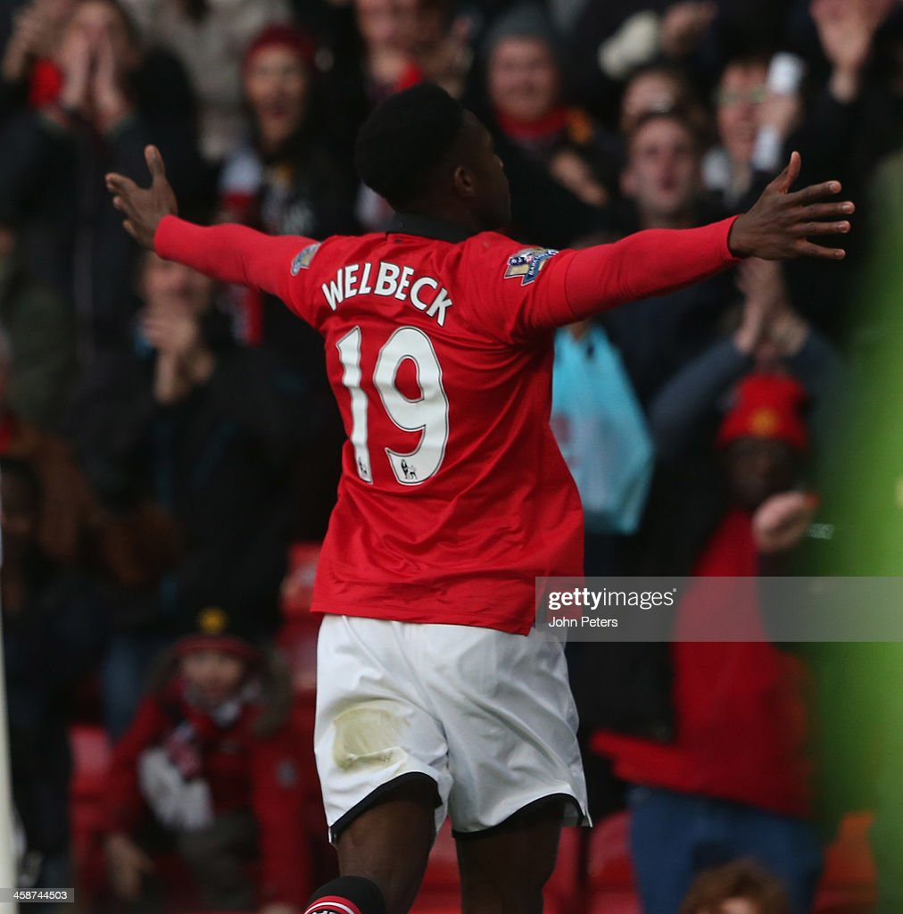 Danny Welbeck of Manchester United celebrates scoring their first goal during the Barclays Premier League match between Manchester United and West...
