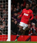 Danny Welbeck of Manchester United celebrates scoring their first goal during the Barclays Premier League match between Manchester United and...