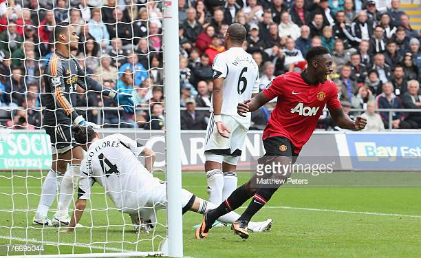 Danny Welbeck of Manchester United celebrates scoring their second goal during the Barclays Premier League match between Swansea City and Manchester...