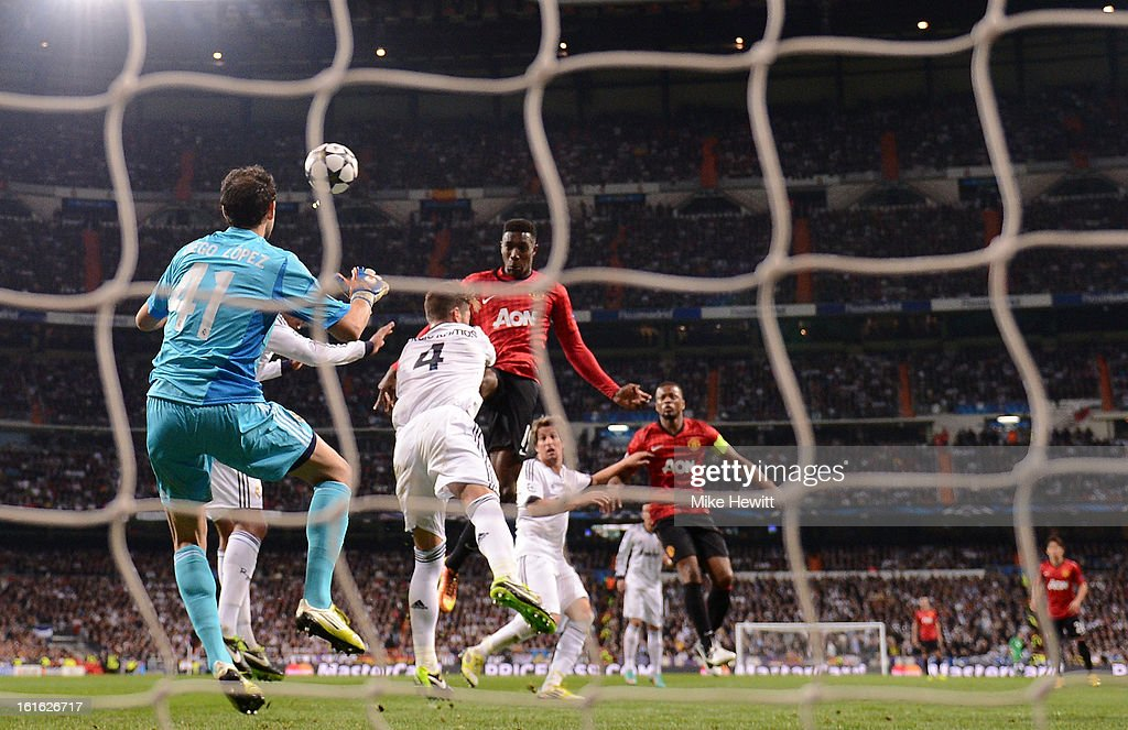 Danny Welbeck of Manchester United heads in the first goal during the UEFA Champions League Round of 16 first leg match between Real Madrid and Manchester United at Estadio Santiago Bernabeu on February 13, 2013 in Madrid, Spain.