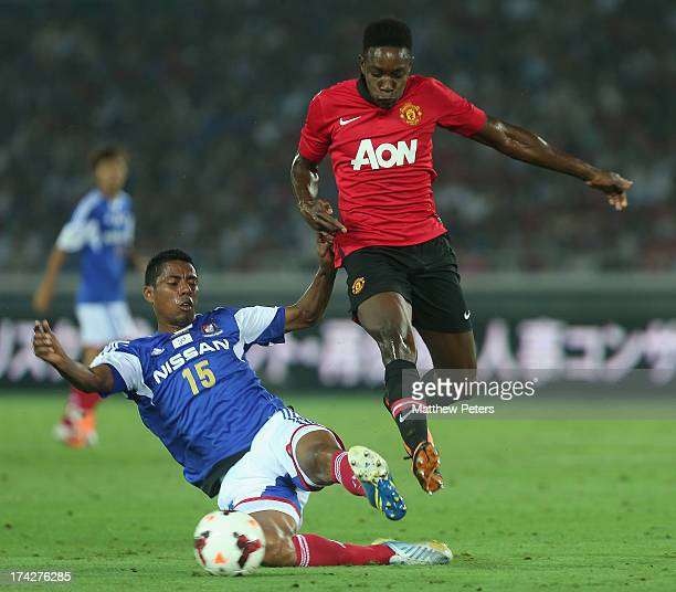 Danny Welbeck of Manchester United in action with Fabio of Yokohama F Marinos during the preseason friendly match between Yokohama FMarinos and...