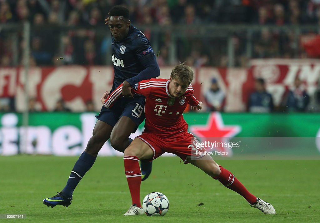 <a gi-track='captionPersonalityLinkClicked' href=/galleries/search?phrase=Danny+Welbeck&family=editorial&specificpeople=4223930 ng-click='$event.stopPropagation()'>Danny Welbeck</a> of Manchester United in action with <a gi-track='captionPersonalityLinkClicked' href=/galleries/search?phrase=Toni+Kroos&family=editorial&specificpeople=638597 ng-click='$event.stopPropagation()'>Toni Kroos</a> of Bayern Munich during the UEFA Champions League quarter-final second leg match between Bayern Munich and Manchester United at Allianz Arena on April 9, 2014 in Munich, Germany.