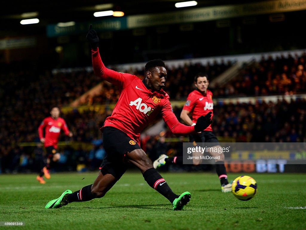 <a gi-track='captionPersonalityLinkClicked' href=/galleries/search?phrase=Danny+Welbeck&family=editorial&specificpeople=4223930 ng-click='$event.stopPropagation()'>Danny Welbeck</a> of Manchester United scores their first goal during the Barclays Premier League match between Norwich City and Manchester United at Carrow Road on December 28, 2013 in Norwich, England.