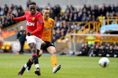 Danny Welbeck of Manchester United scores their third goal during the Barclays Premier League Match between Wolverhampton Wanderers and Manchester...