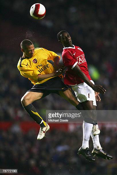 Danny Welbeck of Manchester United Youth challenges Kieran Gibbs during the FA Youth Cup sponsored by EON SemiFinal 2nd Leg match between Manchester...