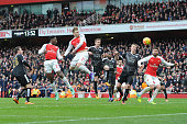 Danny Welbeck scores Arsenal's 2nd goal during the Barclays Premier League match between Arsenal and Leicester City at Emirates Stadium on February...