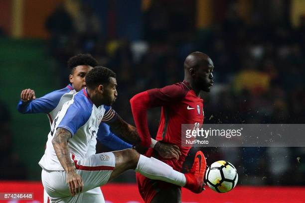 Danny Wiliams vies with Danilo Pereira during the Friendly match football match between Portugal and USA at Municipal de Leiria Stadium in Leiria on...