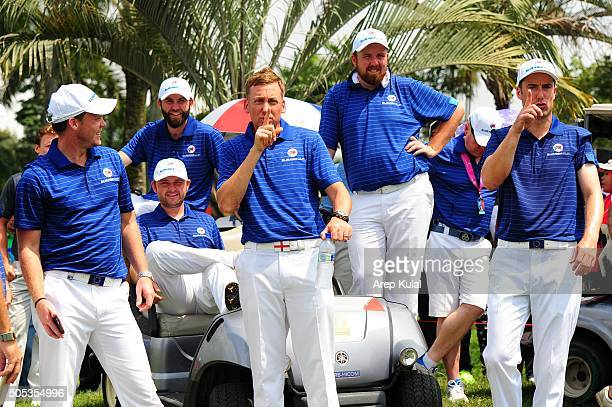 Danny Willet Ian Poulter and Ross Fisher of Team Europe having fun after winning the EurAsia Cup 2016 presented DRBHICOM at Glenmarie GCC on January...