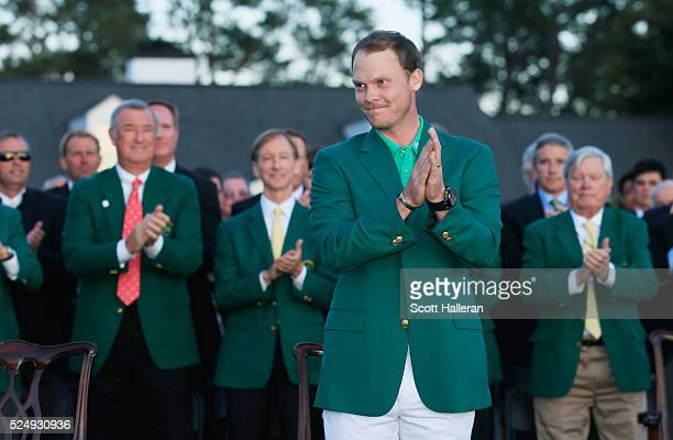 Danny Willett of England celebrates his victory after the final round of the 2016 Masters Tournament at the Augusta National Golf Club on April 10...